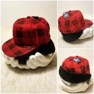 STUSSY Flannel Buffalo Plaid Cap Hat with Earflap